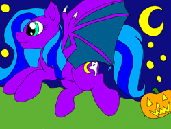 Size: 1024x768 | Tagged: safe, oc, oc:ghost moon, bat pony, halloween, holiday
