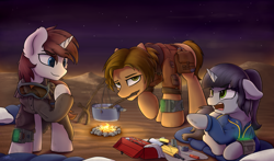 Size: 4905x2880 | Tagged: safe, artist:avastin4, oc, oc only, oc:diana, oc:jason, oc:john, earth pony, pony, unicorn, fallout equestria, bag, campfire, camping, clothes, desert, female, floppy ears, hooves, horn, male, mare, mouth hold, night, night sky, open mouth, pipbuck, prone, saddle bag, screwdriver, sky, stallion, standing, stars, vault suit