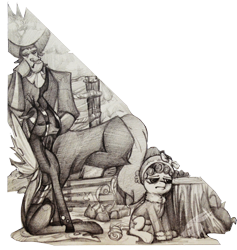 Size: 2675x2826 | Tagged: safe, artist:angusdra, cozy glow, lord tirek, queen chrysalis, centaur, changeling, changeling queen, pegasus, pony, antagonist, bored, campfire, clothes, female, hat, jacket, monochrome, simple background, traditional art, transparent background, tree stump