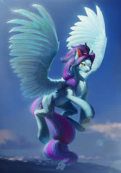 Size: 4409x6299 | Tagged: safe, artist:angusdra, oc, oc only, pegasus, absurd resolution, detailed, ear piercing, flying, lens flare, piercing, solo