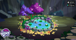 Size: 960x504 | Tagged: safe, idw, butterfly, spoiler:comic, spoiler:comic43, bush, facebook, flower, gameloft, hot springs, idw showified, my little pony logo, no pony, ponies of dark water, rock, tree