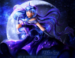 Size: 800x625 | Tagged: safe, artist:kgfantasy, princess luna, human, beautiful, clothes, crown, dress, ear piercing, earring, female, gloves, humanized, jewelry, long hair, mare, moon, piercing, regalia, solo