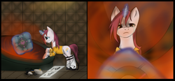Size: 4327x2007 | Tagged: safe, artist:weird--fish, pony, chell, companion cube, crying, ponified, portal, portal (valve), portal gun, sad