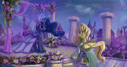 Size: 4096x2160 | Tagged: safe, artist:tinybenz, princess luna, oc, oc:night finch, alicorn, pony, alicorn oc, canon x oc, canterlot, clothes, dress, female, flower, horn, horn ring, lavender, lunafinch, male, mare, marriage, night, night sky, ring, royal wedding, shipping, sky, stallion, starry night, straight, wedding