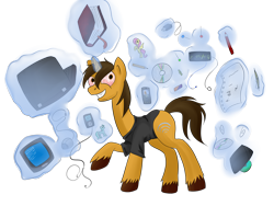 Size: 3072x2304 | Tagged: safe, artist:weird--fish, pony, book, clothes, computer, crazy face, faic, flash drive, laptop computer, mp3 player, pencil, phone, ponified, simple background, solo, television, toy, transparent background