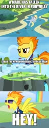 Size: 500x1306 | Tagged: artist needed, safe, artist:j-j-bases, edit, edited screencap, screencap, vector edit, derpy hooves, spitfire, pegasus, pony, wonderbolts academy, a man has fallen into the river in lego city, caption, comic, derpy being derpy, image macro, lego, lego city, meme, river, screencap comic, text, vector