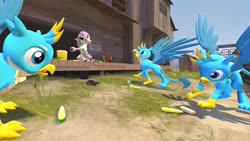 Size: 1280x720 | Tagged: safe, artist:horsesplease, gallus, bird, chicken, galarian ponyta, ponyta, 3d, corn, food, gallus coop, gallus the rooster, gmod, multeity, pokémon, popcorn, self griffondox, star butterfly