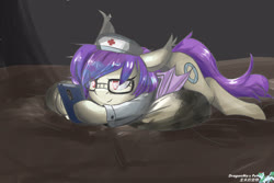 Size: 3600x2400 | Tagged: source needed, safe, artist:dragonmo's pet, oc, oc only, oc:sunset cloudy, bat pony, pony, bed, cellphone, doctor, female, folded wings, glasses, indoors, lying down, mare, nurse, on bed, phone, prone, smartphone, solo, wings