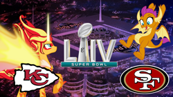Size: 1920x1080 | Tagged: safe, artist:memnoch, artist:missgoldendragon, smolder, sunset shimmer, equestria girls, american football, cute, daydream shimmer, kansas city chiefs, nfl, san francisco 49ers, show accurate, smolderbetes, sports, super bowl, super bowl liv