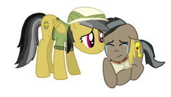 Size: 1004x572 | Tagged: safe, artist:diana173076, daring do, doctor caballeron, comforting, crying, daballeron, female, male, shipping, straight