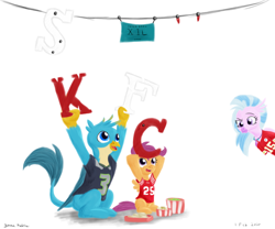 Size: 1800x1500 | Tagged: safe, artist:rockhoppr3, gallus, scootaloo, silverstream, classical hippogriff, griffon, hippogriff, pegasus, pony, american football, biscuits, clothes, coleslaw, food, gallus the rooster, jersey, kansas city chiefs, kfc, mashed potatoes, nfl, potato, san francisco 49ers, scootachicken, seattle seahawks, sports, super bowl, super bowl liv