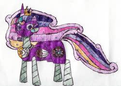 Size: 1618x1155   Tagged: safe, artist:eternaljonathan, princess cadance, princess celestia, princess luna, twilight sparkle, oc, oc:princess universe, alicorn, candy pony, food pony, original species, pony, alicorn oc, alicorn princess, candy, commissioner:bigonionbean, cutie mark, female, food, fusion, fusion:princess universe, jewelry, mare, regalia, traditional art, writer:bigonionbean