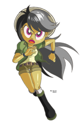 Size: 1020x1500 | Tagged: safe, artist:branewashpv, daring do, human, equestria girls, female, looking at you, running, simple background, solo, transparent background