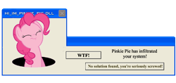 Size: 534x252 | Tagged: safe, pinkie pie, error message, fourth wall, pinkie being pinkie, simple background, solo, transparent background, windows, windows xp