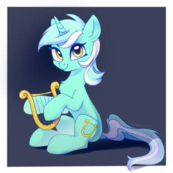 Size: 2500x2500 | Tagged: safe, artist:taneysha, lyra heartstrings, pony, unicorn, chest fluff, cute, ear fluff, female, high res, lyrabetes, lyre, mare, musical instrument, sitting, solo