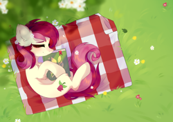 Size: 3508x2480 | Tagged: safe, artist:alkit_is_not_me, roseluck, earth pony, pony, book, cute, cuteluck, ear fluff, eyes closed, female, flower, flower in hair, high res, leg fluff, mare, on side, outdoors, picnic blanket, rose, sleeping, smiling, solo