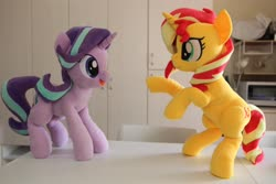 Size: 4096x2731 | Tagged: safe, artist:nekokevin, starlight glimmer, sunset shimmer, pony, unicorn, series:nekokevin's glimmy, bipedal, duo, female, irl, looking at each other, mare, nekokevin is trying to murder us, open mouth, photo, plushie, raised hoof, smiling