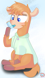 Size: 861x1485 | Tagged: safe, artist:rainbow eevee, oc, oc only, oc:lawrence, alpaca, pony, blue background, blue eyes, clothes, hoof hold, inhaler, lidded eyes, male, shirt, simple background, sitting, solo, white background