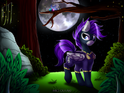 Size: 2000x1500 | Tagged: safe, artist:micioutaki, oc, oc only, firefly (insect), insect, parasprite, pegasus, pony, clothes, costume, ear fluff, full moon, goggles, grass, lidded eyes, moon, night, night sky, rock, shadowbolts, shadowbolts costume, sky, solo, standing, starry night, tree, ych result