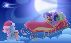 Size: 1024x615 | Tagged: safe, artist:nightmaremoons, flash sentry, twilight sparkle, oc, oc:harmony star, alicorn, christmas, female, flashlight, hat, holiday, male, nuzzling, santa hat, shipping, show accurate, sleigh, straight, twilight sparkle (alicorn)