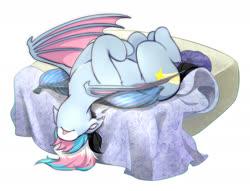 Size: 1645x1257 | Tagged: safe, artist:raranfa, oc, oc only, oc:starskipper, bat pony, pony, bat pony oc, bed, cushion, ear fluff, female, leg fluff, mare, on back, sleeping, solo, tongue out
