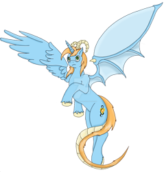 Size: 1024x1072 | Tagged: safe, artist:isaac-silver-dragon, oc, oc only, oc:harmony star, draconequus, flying, lightly watermarked, shoulder fluff, simple background, solo, transparent background, unshorn fetlocks, watermark