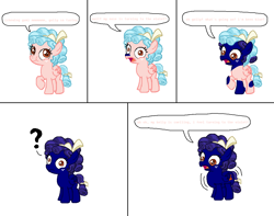 Size: 1142x899 | Tagged: safe, artist:theinflater19, cozy glow, pony, blue, blueberry glow, blueberry gum, blueberry inflation, bubblegum, chewing, chewing gum, eating, engrish, female, filly, food, gum, wat