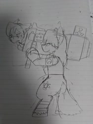 Size: 1080x1440 | Tagged: safe, artist:omegapony16, oc, oc only, oc:oriponi, pony, armor, duo, lineart, lined paper, nervous, rocket, scared, traditional art, unshorn fetlocks, weapon