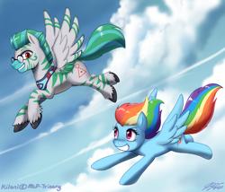 Size: 1200x1029 | Tagged: safe, artist:johnjoseco, rainbow dash, oc, oc:kilani, pegasus, pony, zebra, zebrasus, cloud, flying, glasses, male