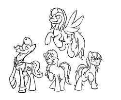 Size: 1804x1488 | Tagged: safe, artist:lucas_gaxiola, oc, oc only, earth pony, pegasus, pony, unicorn, clothes, cuffs (clothes), facial hair, female, flying, group, lineart, male, mare, monochrome, moustache, necktie, raised hoof, stallion