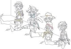 Size: 3454x2407   Tagged: safe, artist:j053ph-d4n13l, oc, oc only, oc:elizabat sandstorm, oc:elizabat stormfeather, oc:elizabat stormstalker, oc:elizabot, oc:nite-mare, cyborg, robot, equestria girls, alternate hairstyle, amputee, arm behind back, armor, barefoot, belt, bondage, bullet, clothes, cowboy, cowboy hat, ear piercing, earring, equestria girls-ified, eye scar, feather, feet, female, fetish, foot fetish, goggles, gun, handgun, hat, headset, jewelry, jumpsuit, knee pads, lineart, open mouth, piercing, pouch, prosthetic limb, prosthetics, revolver, scar, scarf, self paradox, shirt, shorts, simple background, soles, tickle torture, tickling, transparent background, vest, weapon