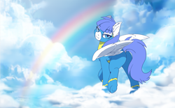 Size: 3439x2134 | Tagged: safe, artist:arctic-fox, oc, oc only, oc:snow pup, pegasus, pony, butt, clothes, cloud, dock, female, looking at you, looking back, mare, on a cloud, plot, rainbow, raised hoof, smiling, smirk, spread wings, standing on cloud, uniform, wings, wonderbolts uniform