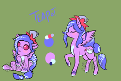 Size: 1200x800 | Tagged: safe, artist:lavvythejackalope, oc, oc only, oc:teapot, pegasus, pony, :o, baby, baby pony, blush sticker, blushing, colored hooves, duo, eyes closed, hat, open mouth, reference sheet, simple background, sitting, text, underhoof