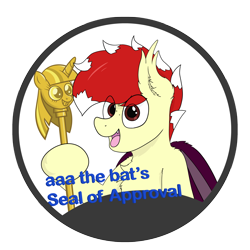Size: 3989x3989 | Tagged: safe, artist:aaathebap, oc, oc:aaaaaaaaaaa, bat pony, bat pony oc, cane, scepter, seal of approval, simple background, sticker, transparent background, twilight scepter