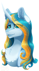 Size: 500x900 | Tagged: safe, artist:sharxz, oc, oc only, oc:serene shores, pony, unicorn, chest fluff, fangs, female, gold, mare, shark teeth, simple background, solo, transparent background, unicorn oc
