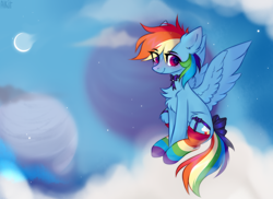 Size: 3600x2614 | Tagged: safe, artist:alkit_is_not_me, artist:angryroru, rainbow dash, pegasus, pony, bow, bowtie, chest fluff, clothes, cloud, crescent moon, cute, dashabetes, ear fluff, eye clipping through hair, female, garter belt, high res, leg fluff, mare, moon, night, on a cloud, rainbow socks, sitting, sky, smiling, socks, solo, stars, striped socks, tail bow