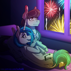 Size: 1600x1596 | Tagged: safe, artist:inuhoshi-to-darkpen, dj pon-3, octavia melody, vinyl scratch, earth pony, pony, unicorn, 2020, bed, bedroom, female, fireworks, happy new year, holiday, lesbian, mare, open mouth, pillow, scratchtavia, shipping, unshorn fetlocks