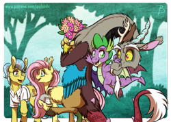 Size: 891x633 | Tagged: safe, artist:inuhoshi-to-darkpen, artist:zutheskunk edits, discord, doctor fauna, fluttershy, spike, dragon, earth pony, opossum, pegasus, pony, bouquet, discoshy, ear fluff, female, flower, male, shipper on deck, shipping, straight, winged spike