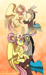 Size: 1181x1936 | Tagged: safe, artist:inuhoshi-to-darkpen, discord, fluttershy, draconequus, pegasus, pony, the last problem, spoiler:s09e26, discoshy, feathered fetlocks, female, gradient background, holding a pony, male, mare, older, older fluttershy, orange background, shipping, simple background, straight