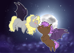 Size: 1280x927 | Tagged: safe, artist:miyathegoldenflower, oc, oc:maple leaf, oc:prowl, bat pony, fanfic:ponyville noire, bat pony oc, blushing, chibi, cloud, female, flying, full moon, husband and wife, kissing, male, moon, oc x oc, shipping
