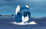 Size: 1079x680   Tagged: safe, artist:shinodage, oc, oc:merlin, original species, pony, rocket pony, autonomous spaceport drone ship, female, mare, ocean, ponified, question mark, solo, spacex, wet