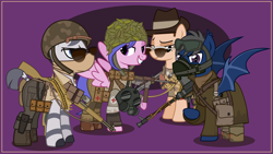 Size: 4000x2252 | Tagged: safe, artist:n0kkun, oc, oc only, oc:diamond eyes (ice1517), oc:island hopper, oc:redheart cross, oc:zerok, bat pony, earth pony, pegasus, pony, zebra, armor, army, bag, bandana, bandolier, bat pony oc, bedroom eyes, belt, boots, boys anti tank rifle, bullet, camouflage, clothes, coat, combat medic, female, flashlight (object), gas mask, gloves, goggles, grin, gun, hat, helmet, knife, m1 garand, m3 grease gun, male, mare, mask, medic, military, military uniform, pants, pouch, raised hoof, rifle, saddle bag, scarf, shirt, shoes, shotgun, slouch hat, smg, smiling, sniper, sniper rifle, stallion, submachinegun, sunglasses, t-shirt, trenchcoat, vest, weapon, world war ii, zebra oc