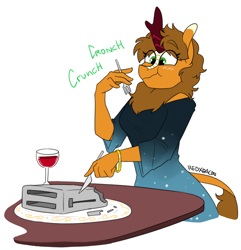 Size: 916x951 | Tagged: safe, artist:redxbacon, oc, oc:pumpkin breeze, anthro, kirin, alcohol, eating, female, toaster, wat, wine