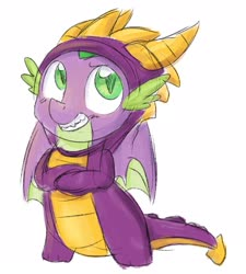 Size: 1940x2160 | Tagged: safe, artist:littleblackraencloud, spike, dragon, clothes, cosplay, costume, crossed arms, crossover, cute, dragon costume, male, simple background, smiling, solo, spikabetes, spyro the dragon, white background, winged spike