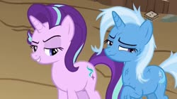 Size: 1280x720   Tagged: safe, screencap, starlight glimmer, trixie, road to friendship, boomerang (tv channel), duo, lidded eyes, looking away, messy mane, scratches
