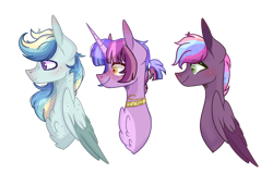 Size: 1280x819 | Tagged: safe, artist:emiedoodles, oc, oc only, pegasus, pony, unicorn, base used, brothers, bust, chest fluff, half-siblings, magical lesbian spawn, male, offspring, parent:rainbow dash, parent:tempest shadow, parent:twilight sparkle, parents:tempestlight, parents:twidash, siblings, simple background, transparent background