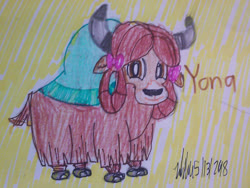 Size: 1280x960 | Tagged: safe, artist:johng15, yona, yak, bow, cloven hooves, colored pencil drawing, female, hair bow, monkey swings, signature, simple background, smiling, solo, text, traditional art
