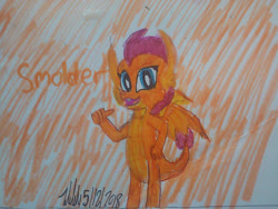 Size: 1280x960 | Tagged: safe, artist:johng15, smolder, dragon, female, signature, simple background, solo, text, traditional art