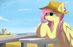 Size: 2560x1650 | Tagged: safe, artist:ssnerdy, fluttershy, pegasus, pony, beach, building, cloud, drink, drinking, female, flower, hat, mare, sky, solo, speedpaint available, straw