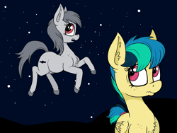 Size: 4708x3543 | Tagged: safe, artist:paskanaakka, derpibooru exclusive, oc, oc only, oc:apogee, oc:apogee (viva reverie), earth pony, pegasus, pony, chest fluff, ear fluff, female, filly, freckles, open mouth, space, unshorn fetlocks
